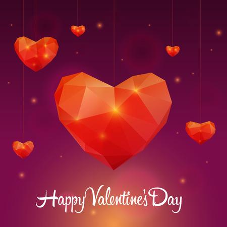 Polygonal red heart Vector