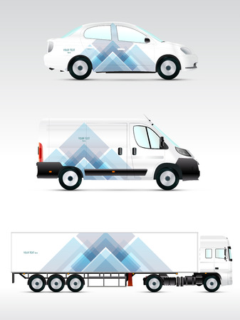 identities: Template vehicle for advertising, branding or corporate identity. Passenger car, truck, bus.