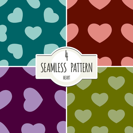 four pattern: Four seamless pattern backgrounds with hearts.