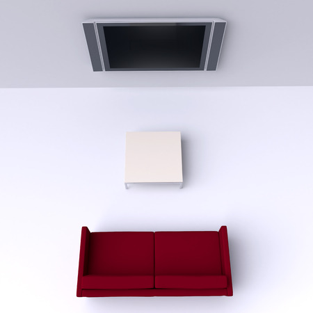 sofa: Red sofa with a flat screen TV on the wall