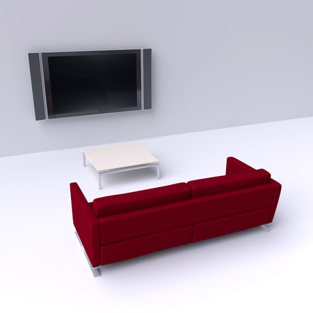 flat screen tv: Red sofa with a flat screen TV on the wall