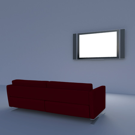 screen tv: Red sofa with a flat screen TV on the wall