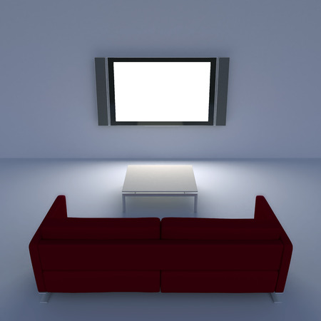red sofa: Red sofa with a flat screen TV on the wall