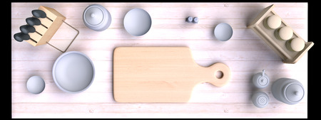bits: Kitchen table with wooden cutting board and other kitchen bits and pieces. 3D illustration. Top view.