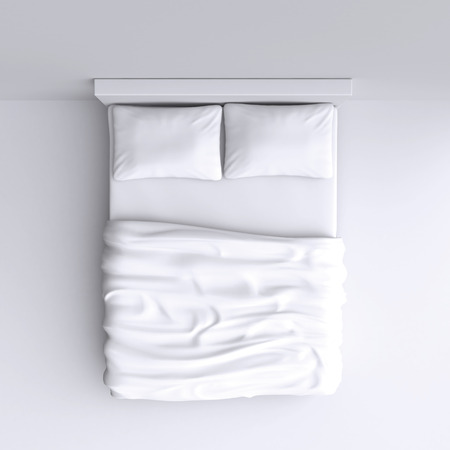 bed sheets: Bed with pillows and a blanket in the corner room, 3d illustration. Top view.