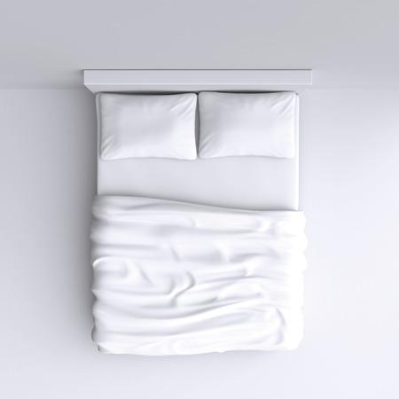 letti: Letto con cuscini e una coperta in camera d'angolo, illustrazione 3D. Vista dall'alto.