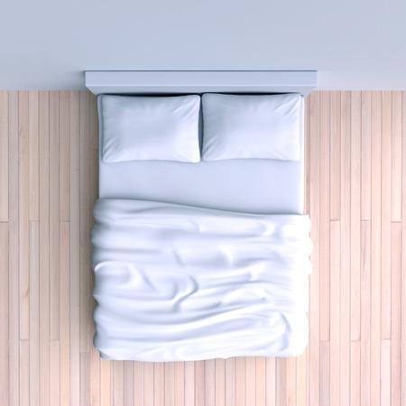 角部屋、3 d イラストレーションで毛布や枕とベッド。平面図です。