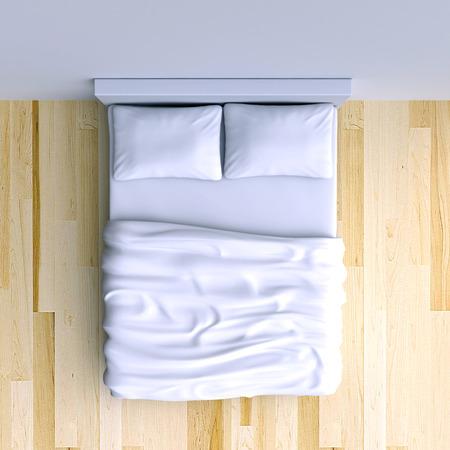 베개와 코너 룸에서 담요, 3D 일러스트와 함께 침대. 평면도.