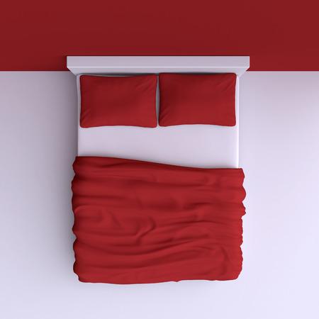 Bed met kussens en een deken in de hoek kamer, 3D-afbeelding. Bovenaanzicht.
