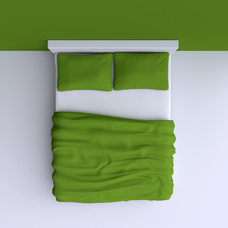 one bedroom: Bed with pillows and a blanket in the corner room, 3d illustration. Top view.