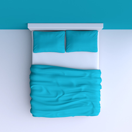 Cama con almohadas y una manta en la habitación de la esquina, ilustración 3d. Vista superior. Foto de archivo - 36455208