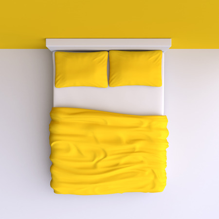 double bed: Bed with pillows and a blanket in the corner room, 3d illustration. Top view.