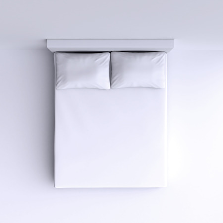 Bed with pillows and a blanket in the corner room, 3d illustration. Top view. Imagens - 36455211