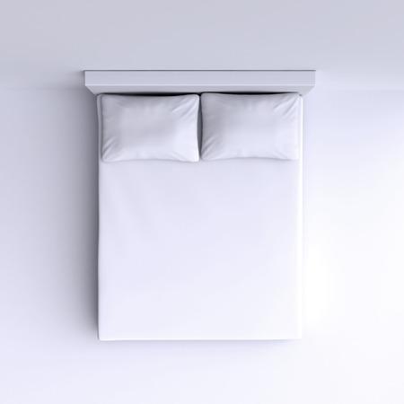 Bett mit Kissen und einer Decke in der Ecke Zimmer, 3D-Darstellung. Draufsicht.