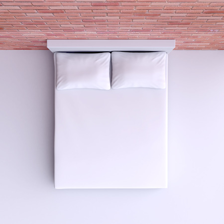 Bed with pillows and a blanket in the corner room, 3d illustration. Top view. illustration