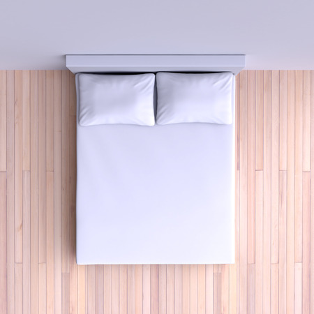mattress: Bed with pillows and a blanket in the corner room, 3d illustration. Top view.