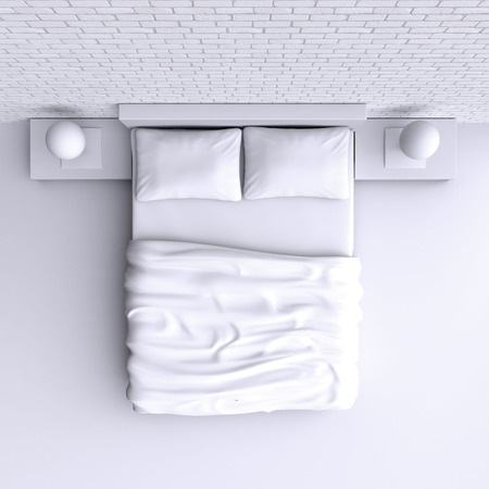 pillows: Bed with pillows and a blanket in the corner room, 3d illustration. Top view.