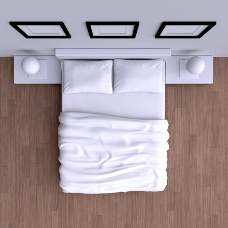 view: Bed with pillows and a blanket in the corner room, 3d illustration. Top view.