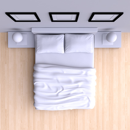 view from the above: Bed with pillows and a blanket in the corner room, 3d illustration. Top view.