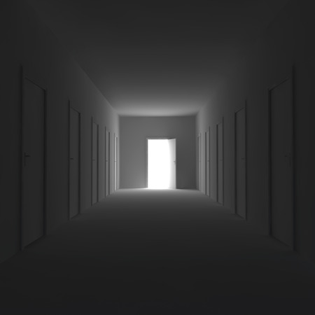 Dark corridor with closed doors and open the door at the end. 3d illustration. illustration