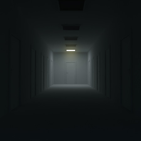 Corridor with closed doors and lighting. 3d illustration. illustration