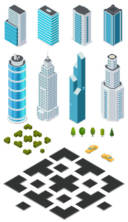 Isometric city map creation kit with buildings, roads, trees, bushes and car. Illustration
