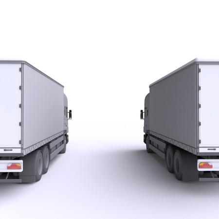 rear: Truck. 3d illustration. Stock Photo