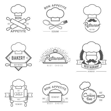 chef hat: inspiration for restaurant or cafe. Vector Illustration, graphic elements editable for design. Illustration