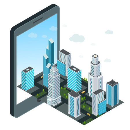 Technology concept with mobile device and map of the city. Stock Illustratie