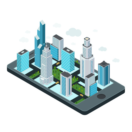 Technology concept with mobile device and map of the city. Vector