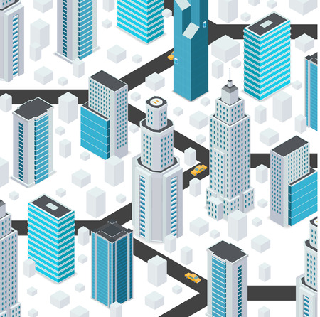 Cartoon city elements in isometric style. Vector