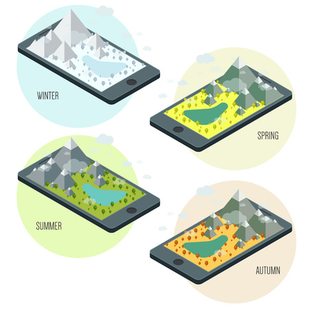 green technology: Technology concept with a mobile device and nature Illustration