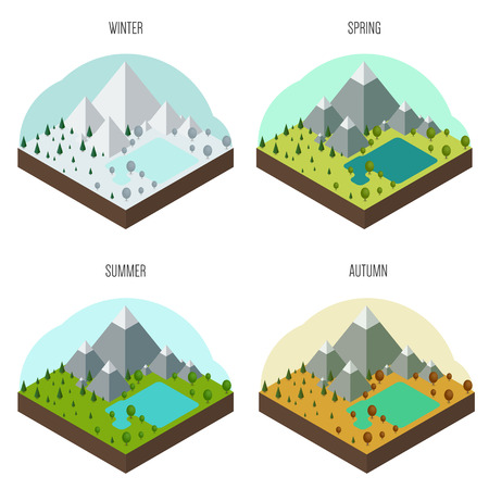 Set of icons with the natural landscape in different seasons Vector