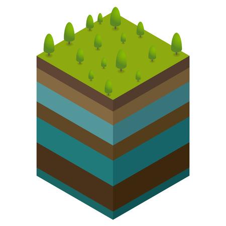 地上レベルと水からの自然の概念  イラスト・ベクター素材