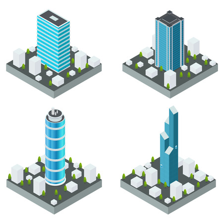 Icons with modern town houses on a square base from the ground or asphalt. Vector