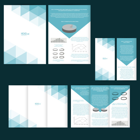 Set of design template with flyer, poster, brochure. Çizim