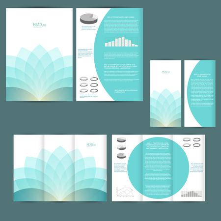 チラシ、ポスター、パンフレットのデザイン テンプレートのセットです。