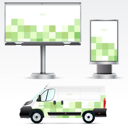 outdoor advertising: Template outdoor advertising or corporate identity on the car, billboard and citylight. For business, branding and advertising companies.