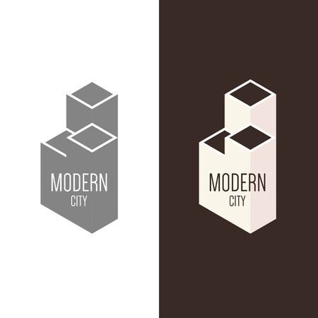 建設会社、不動産会社や建築会社のロゴのインスピレーション。ベクトル図では、デザインの編集可能なグラフィック要素。