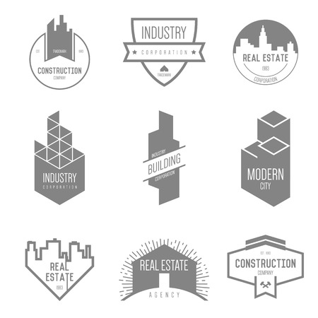 logo batiment: Logo inspiration pour les entreprises de construction, des agences immobilières ou des sociétés d'architecture. Vector Illustration, éléments graphiques modifiables pour la conception.