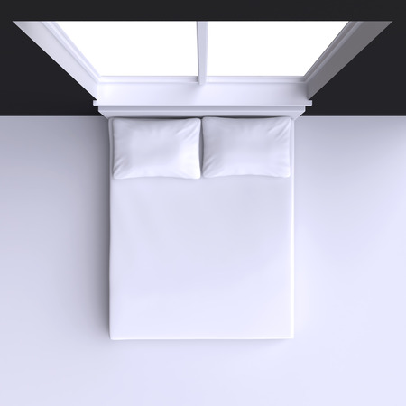Bed with pillows and  in the corner room with window, 3d illustration. Top view.