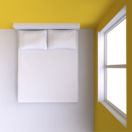 one bedroom: Bed with pillows and  in the corner room with window, 3d illustration. Top view.