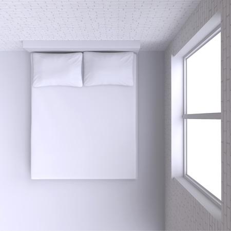 window view: Bed with pillows and  in the corner room with window, 3d illustration. Top view.