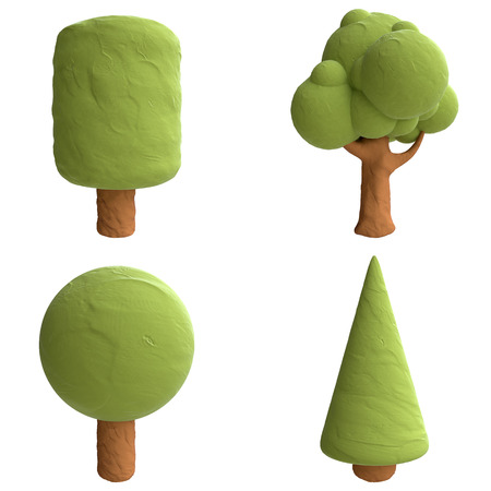 Cartoon trees from plasticine or clay. Stock Photo