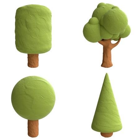 green trees: Cartoon trees from plasticine or clay. Stock Photo