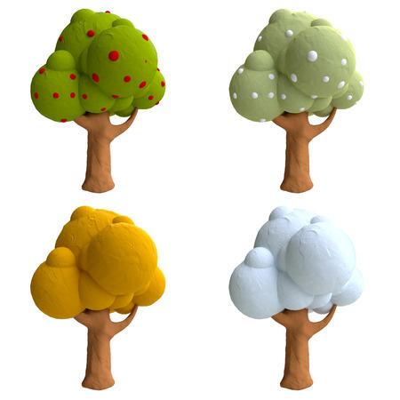 粘土や粘土から木を漫画します。