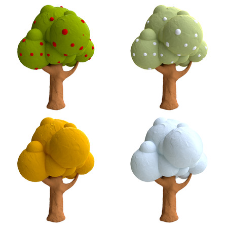 Cartoon trees from plasticine or clay. Фото со стока