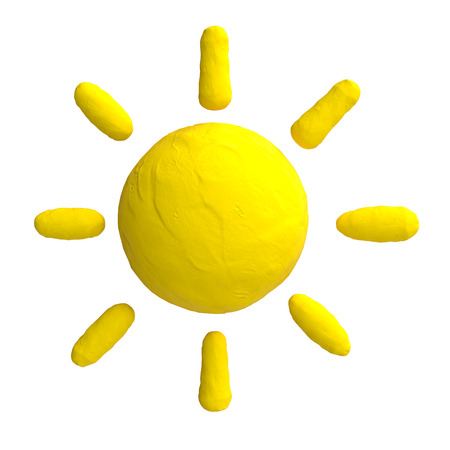 Cartoon sun from plasticine or clay.