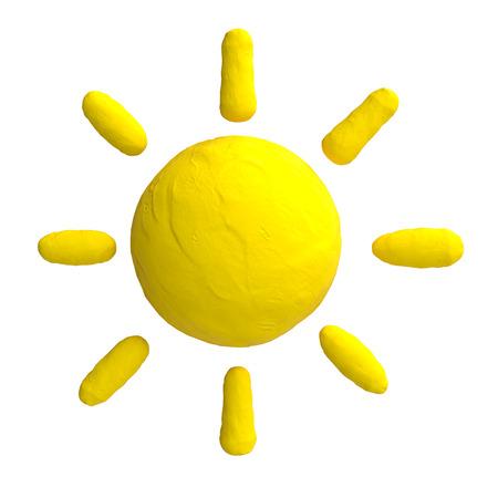plasticine: Cartoon sun from plasticine or clay.