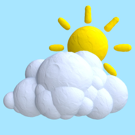 Cartoon wolken en zon van plasticine of klei. Stockfoto